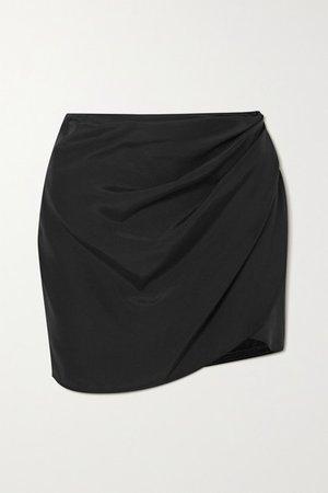 Kobe Draped Silk Crepe De Chine Mini Skirt - Black