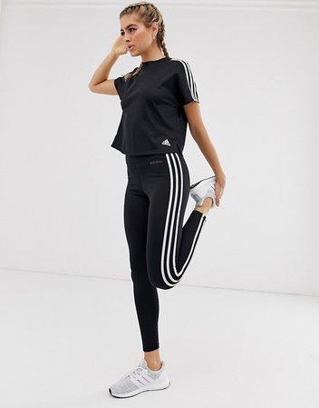 adidas Training Three Stripe Leggings In Black | ASOS