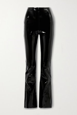 Stretch Faux Patent-leather Flared Pants - Black