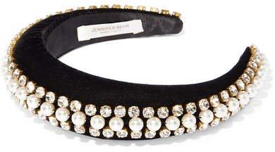 Eleanor Crystal And Faux Pearl-embellished Velvet Headband - Black