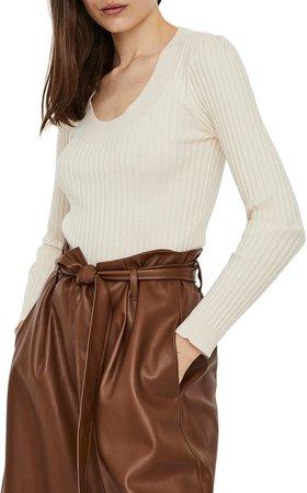 Maci Scoop Neck Ribbed Sweater