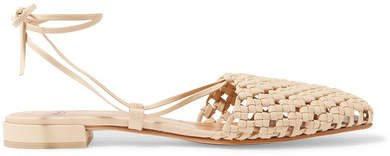 Costa Lace-up Woven Leather Flats - Beige