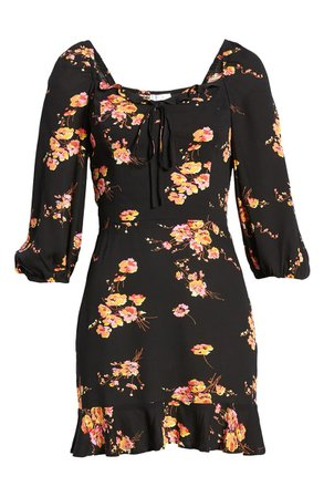 Leith Floral Sweetheart Minidress | Nordstrom