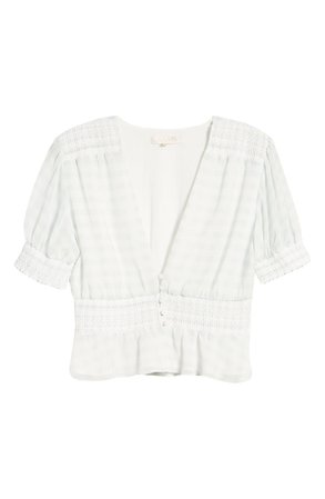 WAYF Norah Smocked Waist Top