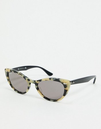 Rayban cat eye sunglasses in gray marble | ASOS