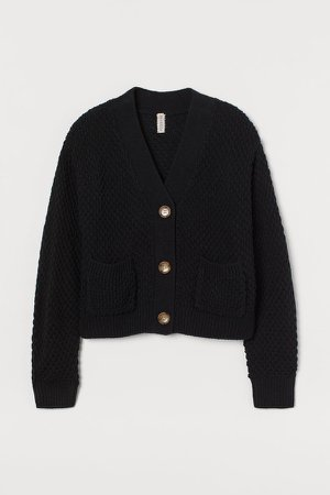 Chunky-knit Cardigan - Black