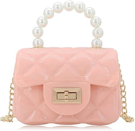 Mini Jelly Purse Flap Handbag with Pearls Top Handle Faux Quilted Crossbody Bag Pink: Handbags: Amazon.com