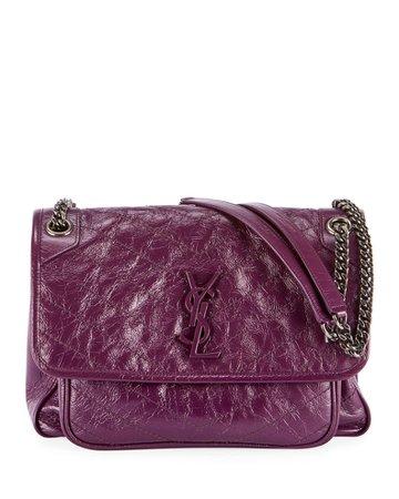 Saint Laurent Niki Medium Crinkled Calf Flap-Top Shoulder Bag | Neiman Marcus