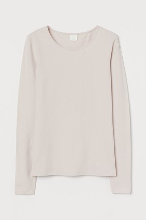 Long-sleeved Jersey Top - Pink
