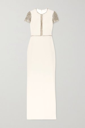 Ivory Cosmo embellished tulle and cady gown | Jenny Packham | NET-A-PORTER