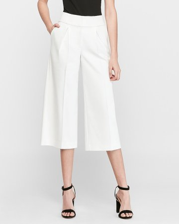 High Waisted Pleated Straight Culottes