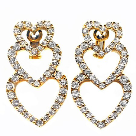 Diamond 18 Karat Yellow Gold Dangling Hearts Ear Pendants For Sale at 1stdibs