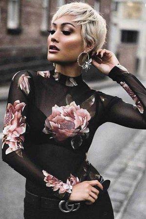 floral printed sheer mesh top – Lupsona