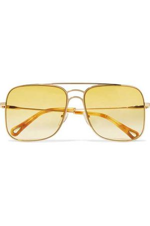 Chloé | Aviator-style gold-tone sunglasses | NET-A-PORTER.COM