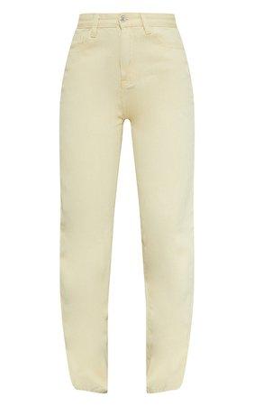 Lemon Split Hem Straight Leg Jeans | PrettyLittleThing USA