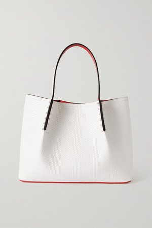 Cabarock Spiked Lizard-effect Leather Tote - White