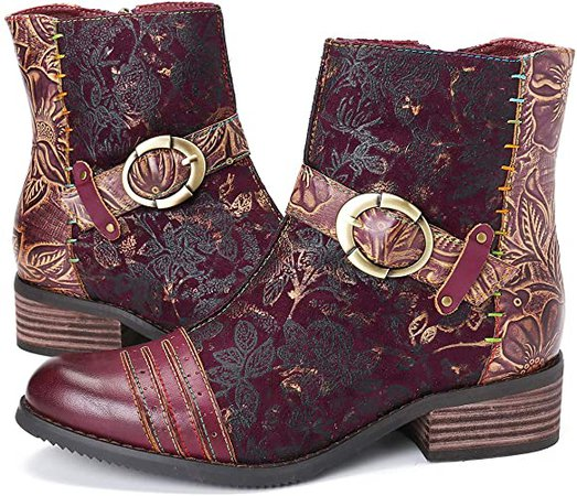 Amazon.com | gracosy Ankle Boots for Women, Leather Ankle Bootie Vintage Fashion Short Boots Side Zipper Floral Pattern Comfort Shoes Ladies Winter Boots Blue 6 M US | Ankle & Bootie