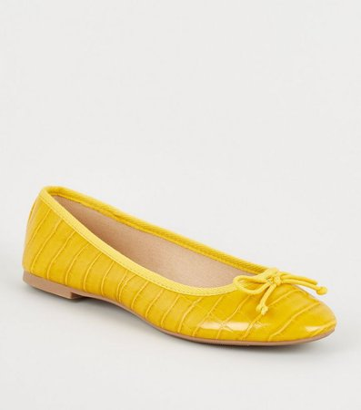 Yellow Faux Croc Bow Ballet Pumps | New Look
