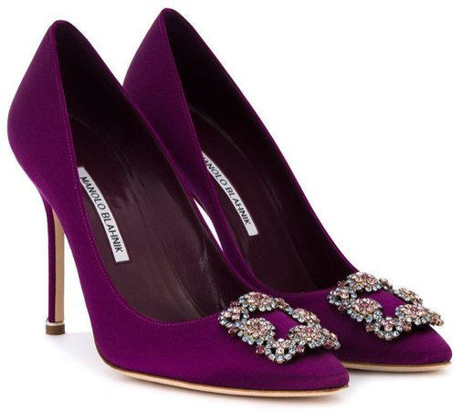 MANOLO BLAHNIK Purple Hangisi Heels