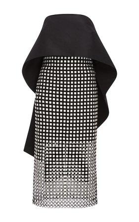 Monique Lhuillier- Geometric Guipure Lace Peplum Dress