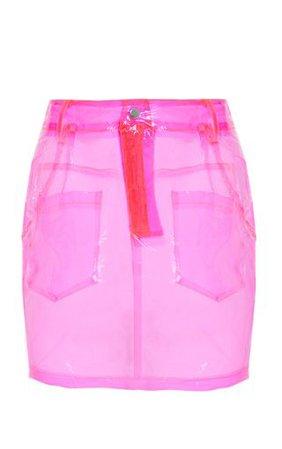 Hot Pink Transparent Mini Skirt | Skirts | PrettyLittleThing