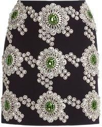 David Koma Crystal-Embroidered Cady Mini Skirt