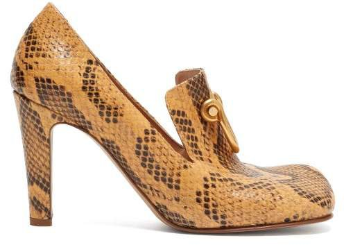 Buckled Python-effect Leather Pumps - Womens - Light Tan