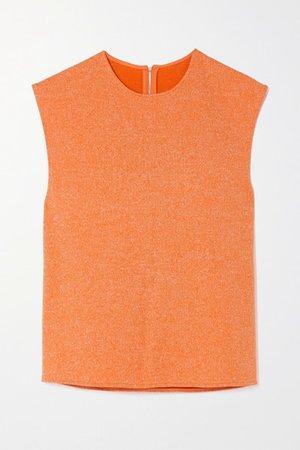 Melange Ribbed-knit Tank - Orange