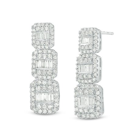 1-1/2 CT. T.W. Composite Baguette and Round Diamond Drop Earrings in 10K White Gold | Online Exclusives | Collections | Zales