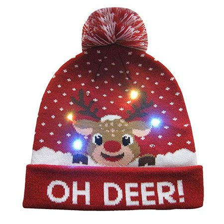 Auwer Christmas Beanie Boos Big, LED Light-up Knitted Ugly Sweater Holiday Xmas Christmas Beanie,Women's Earrings,Multicolor: Amazon.ca: Clothing & Accessories