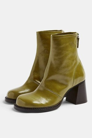 MILO Green Patent Leather Scoop Toe Boots | Topshop