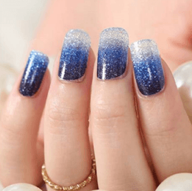Blue & Silver Ombre Nails