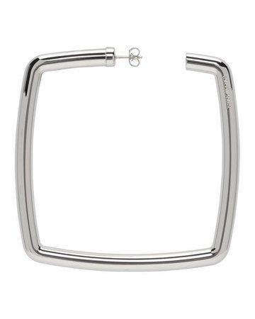 Balenciaga Silver Square Earrings in Metallic