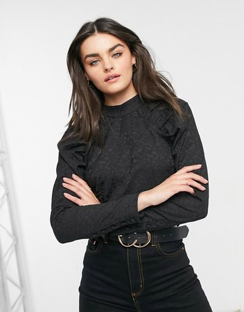 Vila blouse with ruched shoulder detail in black | ASOS