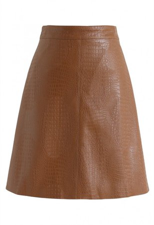 Crocodile Print Faux Leather Skirt in Caramel - NEW ARRIVALS - Retro, Indie and Unique Fashion