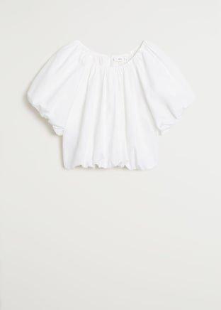 Puffed crop blouse - Women | Mango USA white