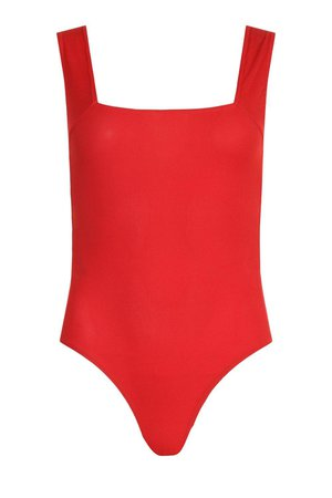 Rib Open Back Square Neck Bodysuit | boohoo