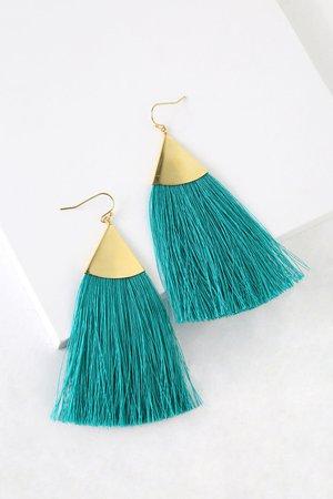 Cute Teal Earrings - Tassel Earrings - Boho Earrings