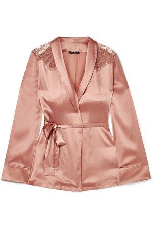 I.D. Sarrieri | Chantilly lace-trimmed silk-satin pajama top | NET-A-PORTER.COM