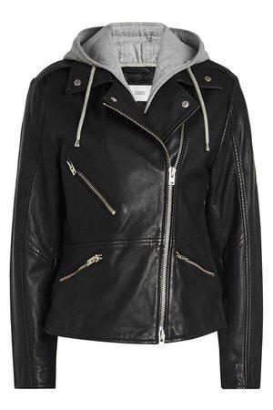 Closed - Park Embellished Leather Biker Jacket with Hoody - black