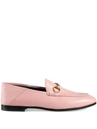 Shop Gucci Pink Brixton Leather loafers with Express Delivery - FARFETCH