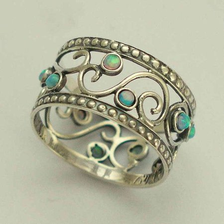 Blue opals ring, Sterling Silver ring, blue gemstones band, oxidised silver ring, wide silver ring, filigree ring