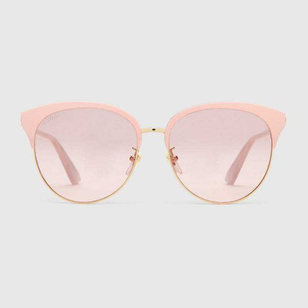 Specialized fit round-frame metal sunglasses - Gucci Women's Cat Eye 504319I03308805