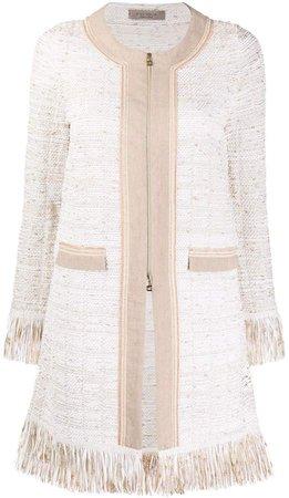 Zipped-Up Tweed Coat