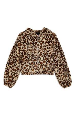 Topshop Leopard Faux Fur Hooded Jacket brown