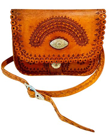 vintage 70s brown leather purse