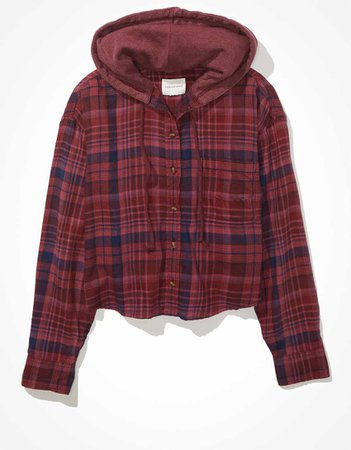 AE Cropped Hooded Flannel Shirt
