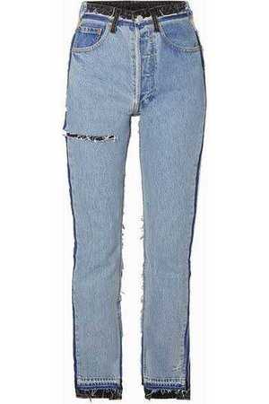 Vetements | Reworked distressed high-rise slim-leg jeans