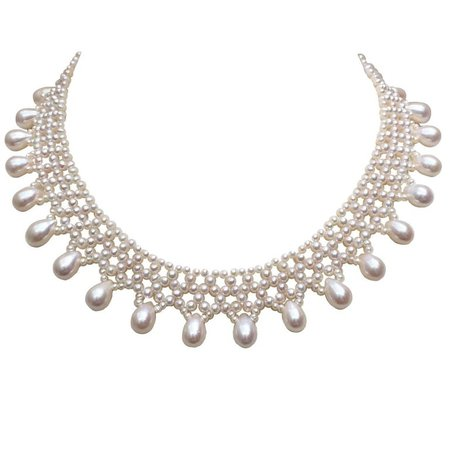 White Woven Pearl Necklace