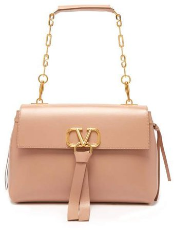 V Ring Medium Leather Shoulder Bag - Womens - Nude